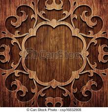 stock illustration of carved wooden pattern carved ornament on