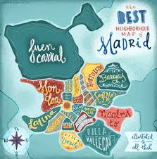 Map Of Seville Spain by Neighborhoods Of Madrid Map Hand Lettering And Illustration Ww