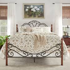 lacy iron metal bed frame set scroll queen size cherry bronze