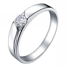 silver ring platinum jewelry with rhinestone for