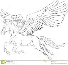 coloring page with a pegasus stock vector image 62507527