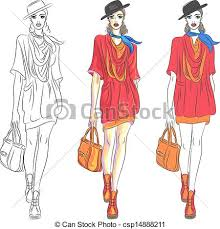 vector clip art of vector beautiful fashion top model in hat