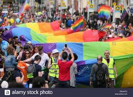 Flag Of Dublin Ireland Dublin Ireland 27th June 2015 A Huge Rainbow Flag In The Crowd