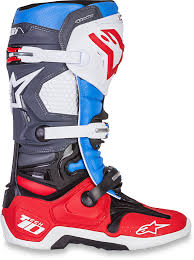 dirt bike motorcycle boots alpinestars mens leather red white blue dirtbike offroad tech 10