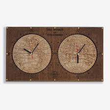 hemispheres home decor buy world hemispheres wall clock at woodandroot for only 65 00
