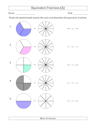 equivalent fractions models with the simplified fraction first a