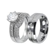 matching wedding ring sets his and hers his hers 3pcs tungsten