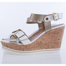 alpe cork wedge sandal in white with gold buckle