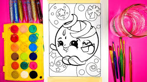 coloring shopkins juicy orange coloring page with watercolor