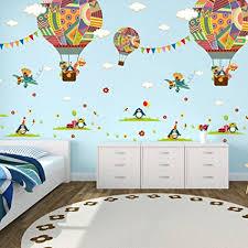 stickers chambre de bebe elecmotive 2 pièces montgolfières ballon autocollants muraux mural