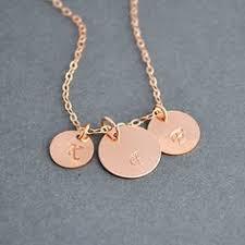 Three Initial Monogram Necklace Three Initial Disc Necklace Gold Initial Necklace Grandpa