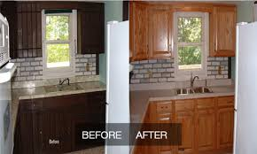 staining kitchen cabinets before and after restaining oak kitchen cabinets before and after