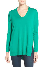 trouve sweater lyst trouvé v neck tunic sweater in green
