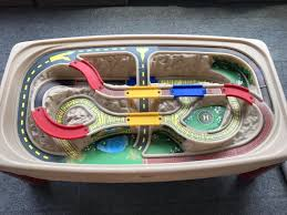 step2 deluxe canyon road train and track table with lid step2 deluxe canyon road train track table games toys in saint