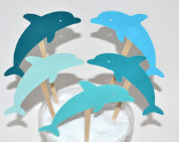 12 lime green dolphin cupcake toppers pink dolphin dolphin