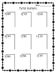 partial quotients worksheets remainders multiplication and division