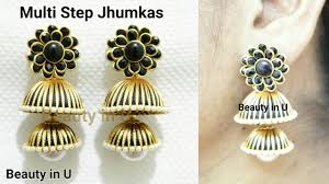 how to make jhumka earrings how to make classic 2 step silk thread jhumkas at home multi