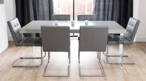 grey kitchen table and chairs grey oak dining table with glass legs real leather quilted dining