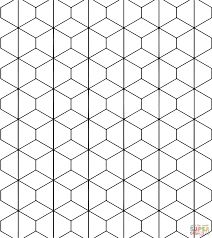 tessellation with rhombus and trapezoid coloring page for kids
