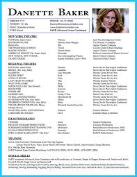 Resume For Theater Resume For Actors Resume Templates