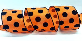 2 5 inch wired halloween ribbon orange ribbon with velvet black