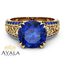 blue sapphires rings images 2 carat blue sapphire custom ring 14k yellow gold sapphire ring jpg