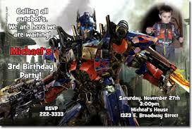 optimus prime birthday party transformers birthday invitations bumblebee birthday invitations