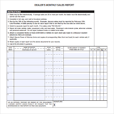 Sales Call Report Template Excel by Free Monthly Based Dealer Sales Report Template Exle For Excel