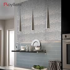 mosaic silver gray self adhesive metallic wall sticker diy peel