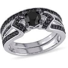 black diamond bridal set 1 1 8 carat t w black diamond sterling silver bridal set
