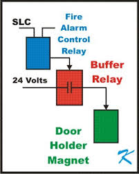 how is a buffer relay wired into a door holder circuit