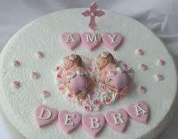 edible twin baby girls christening baptism cake decoration
