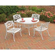 Cast Aluminum Patio Table And Chairs Biscayne 5 42 Inch White Cast Aluminum Outdoor Dining Set By