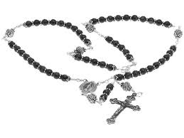 sterling silver rosary necklace images Sterling silver rosary necklace onyx beads crucifix miraculous jpg