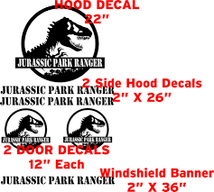 jeep cherokee decal jurassic park ranger decal kit to fit on jeep wrangler