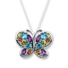 butterfly sterling silver necklace images Kay butterfly necklace multi gemstone sterling silver jpg