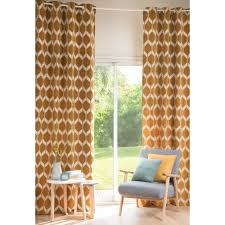 Mustard Curtain Aston Graphic Mustard Yellow And White Eyelet Curtain 140 X 300 Cm