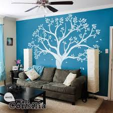 living room wall stickers white tree wall decal for family room or nurserywallconsilia com
