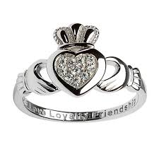 clatter ring fallers claddagh rings sterling silver pave set claddagh ring