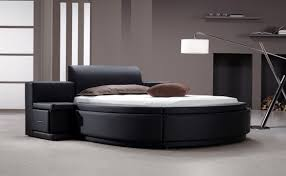 Beds Owen Black Leatherette Round Bed With Storage