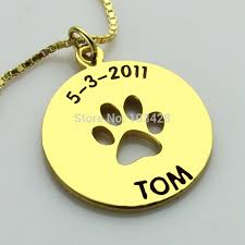 Baby Name Necklace Gold Aliexpress Com Buy Personalized Dog Paw Necklace Children Name