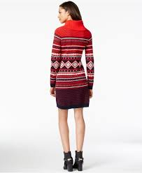 tommy hilfiger printed cowl neck sweater dress in red lyst