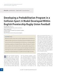 developing a prehabilitation programme in a collision sport a