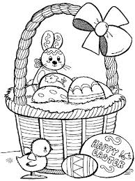 easter basket with eggs coloring page easter bunny and little collecting easter eggs coloring page