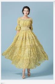 european yellow women u0027s dress long sleeve pleated chiffon maxi
