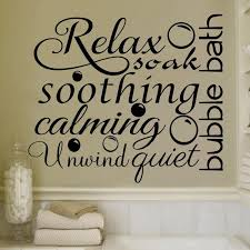 relax soothing words collage for the bathroom decor vinyl wall