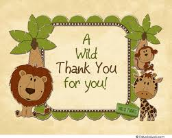Jungle Birthday Card Safari Jungle Animal Thank You Card Wild Zoo Birthday
