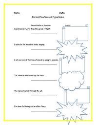 language simile metaphor personification hyperbole worksheet bundle