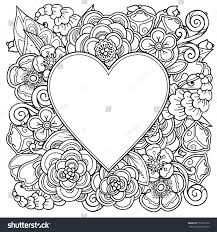 decorative love frame heart flowers ornate stock vector 552565126