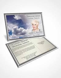 bifold order of service obituary template brochure fiery blue clouds